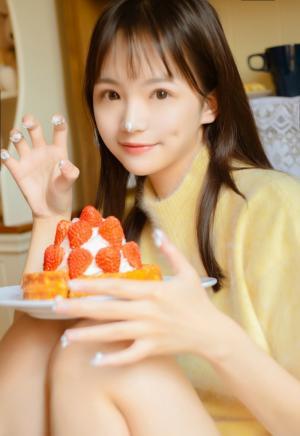 甜美女孩奶油甜品写真