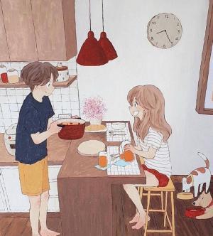 情侣的日常创意绘画