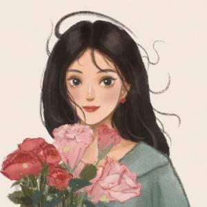 手捧鲜花的女孩手绘微信头像