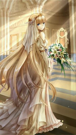 二次元动漫美女唯美婚纱图