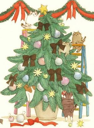 可爱温馨圣诞节卡通小插画