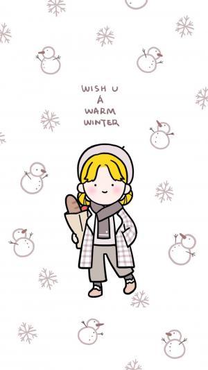 少女系卡通手绘壁纸