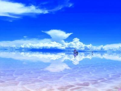 天空之镜乌尤尼盐沼摄影风光