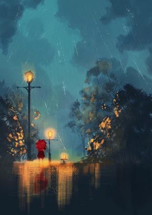 一个人孤独心累插画背景图