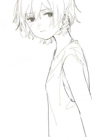 日系小清新可爱少女甜美线稿画