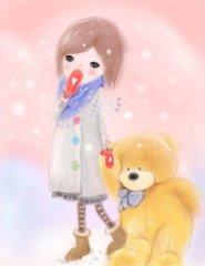 可爱女孩和小熊贴图