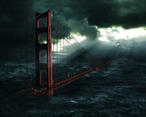 波浪中的深海大桥