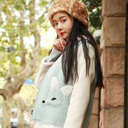 冬季森系搭配印花长袖连衣裙