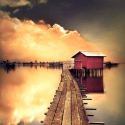 湖之畔桥之边唯美意境风景