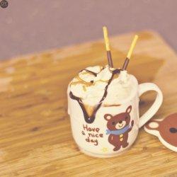 咖啡雕刻时光唯美意境图片
