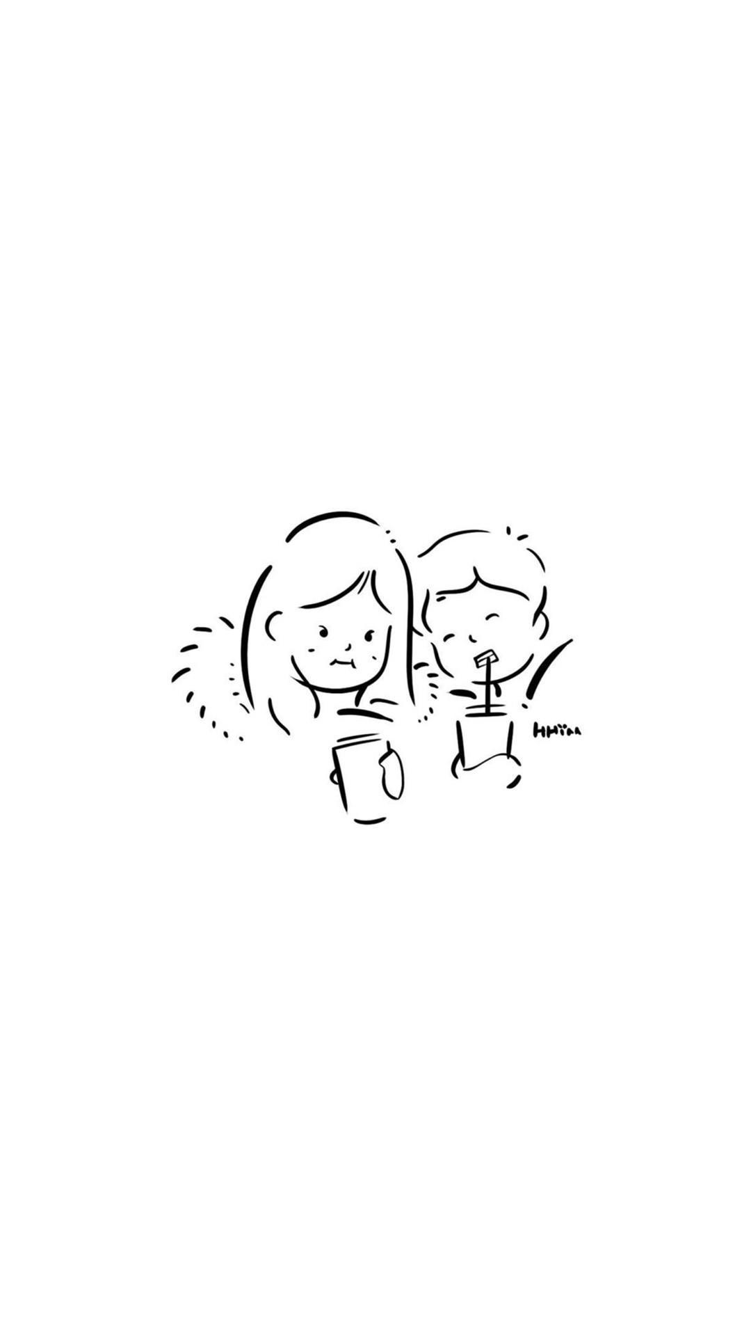 黑白简约情侣手绘