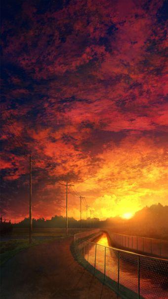 动漫夕阳场景