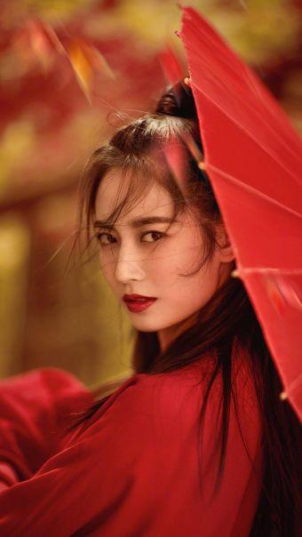 陈钰琪古风红衣写真
