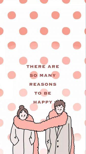 粉色系情侣插画