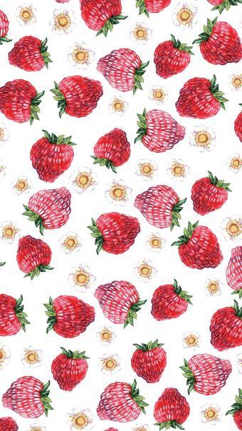 可爱草莓平铺背景
