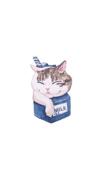 猫咪饮料插画