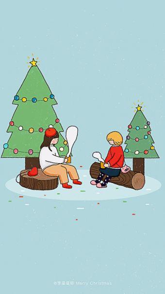 圣诞简约女生插画