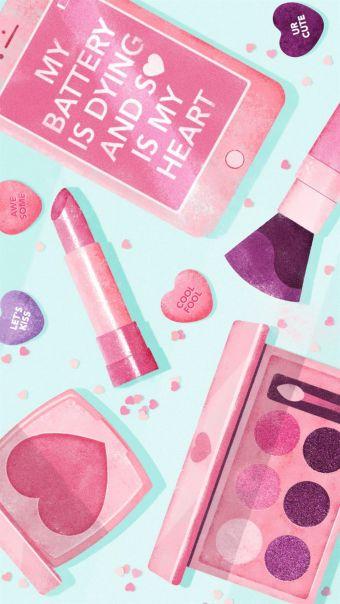 少女心粉色化妆品背景